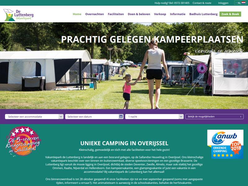 Nieuwe homepage van vakantiepark de Luttenberg