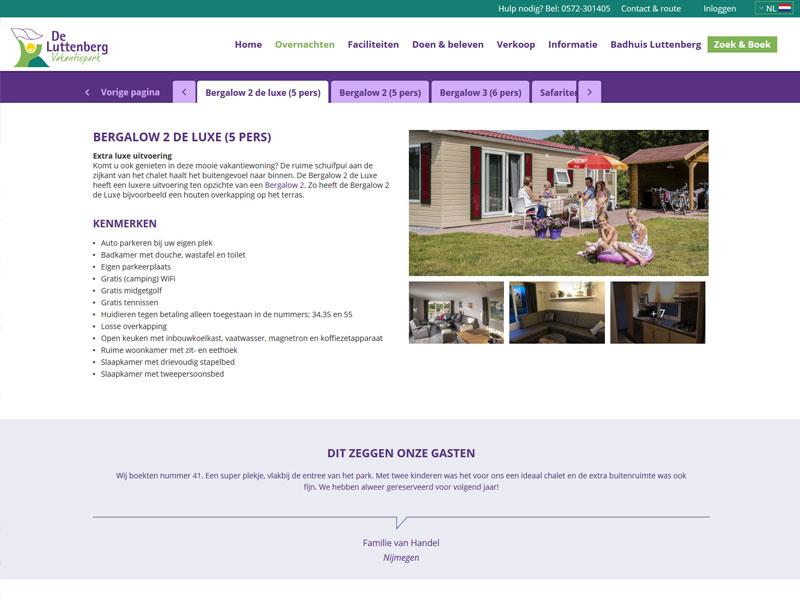 Nieuwe reserveringsmodule vakantiecentrum de Luttenberg